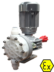 A picture of the MIA diaphragm dosing pump, one of Atex Rated Dosing Pumps.